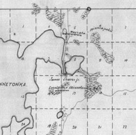"1858 Survey Map of ""Shakopee to Dayton Road"""
