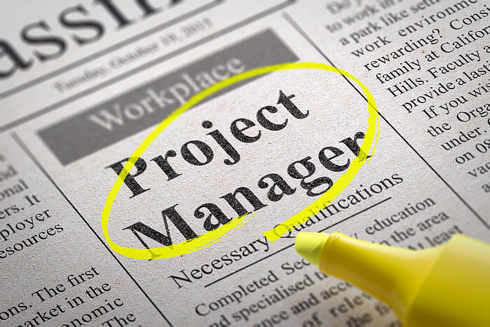 Project Manager Jobs in Newspaper. Job Search Concept.